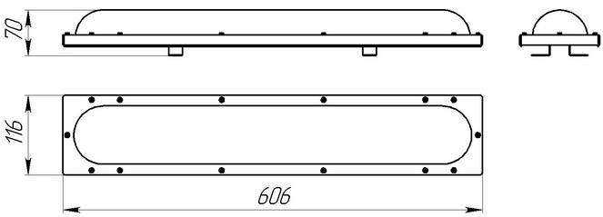 Габаритные размеры светодиодного светильника Луна 36в